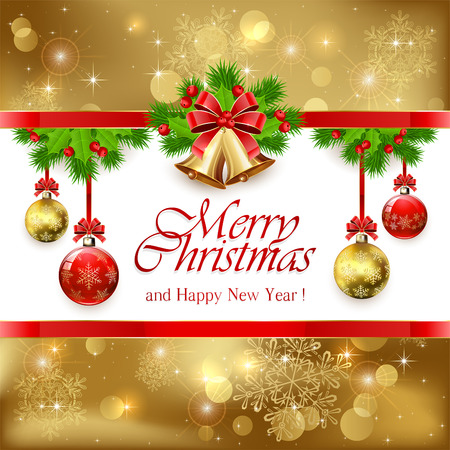 moños navideños: Oro campanas de Navidad con lazo rojo, acebo de bayas y ramas de árboles de abeto y bolas decorativas, ilustración.