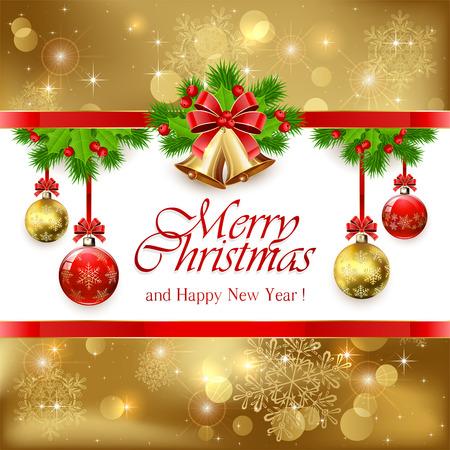 Zlaté vánoční zvonky s červenou mašlí, cesmína bobule a jedlové větve stromů a dekorativní koule, ilustrace.