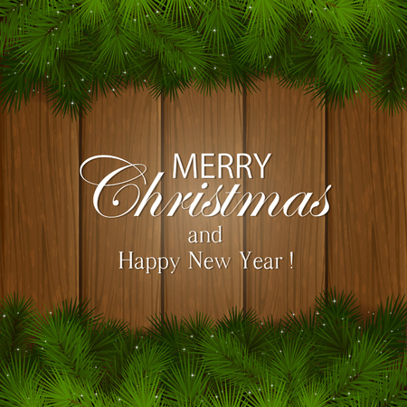 table decor: Inscription Merry Christmas with decorative spruce branches on a wooden background, illustration.