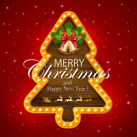 fir tree red: Abstract red background with lights on wooden banner in the form of Christmas tree, sleigh of Santa, golden bells with red bow, holly berry and fir tree branches, illustration. Illustration