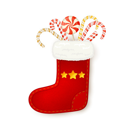 candy canes: Christmas sock with candy canes isolated on white background, illustration.