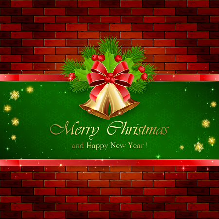 fir tree red: Christmas decorations with red bow, golden bells on green background, holly berry and fir tree branches on brick wall, illustration.