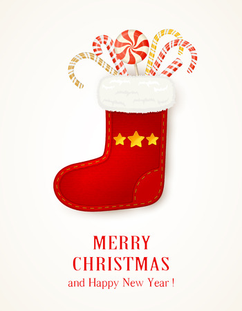 canes: Holiday background with Christmas sock and candy canes, illustration.