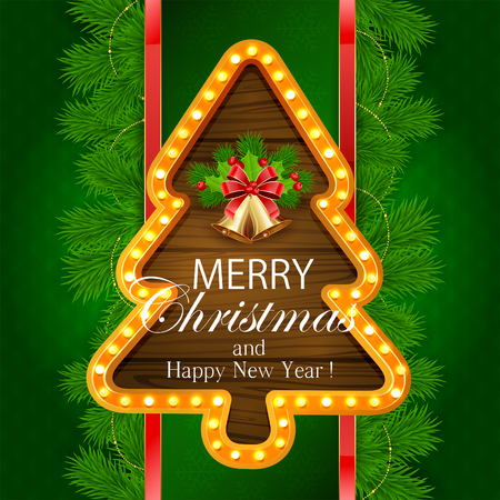 fir tree red: Abstract green background with fir tree branches, snowflakes, retro lights on wooden banner in the form of Christmas tree, golden bells with red bow and holly berry, illustration. Illustration