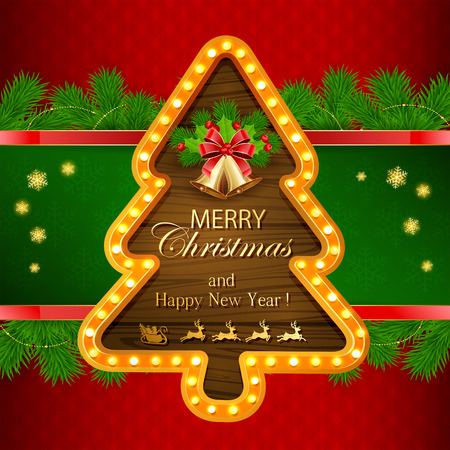 fir tree red: Abstract red background with fir tree branches, snowflakes, retro lights on wooden banner in the form of Christmas tree, golden bells with bow, holly berry and sleigh of Santa, illustration. Illustration
