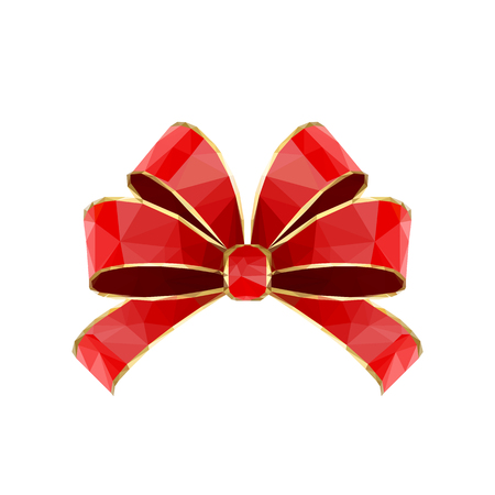 triangular: Red polygonal bow isolated on white background, illustration. Illustration
