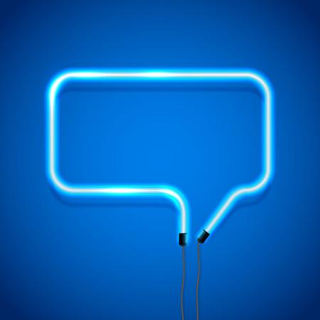 speaking tube: Glowing neon speech bubble on blue background, illustration.
