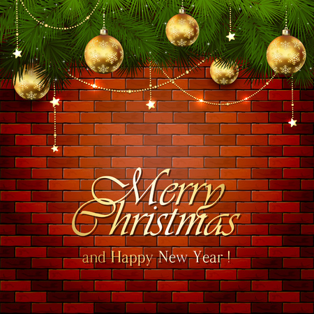 brick wall: Background with golden stars and Christmas balls and spruce branches on a brick wall, illustration. Illustration