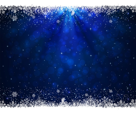 Abstract blue background with frame from snowflakes, illustration. Vettoriali