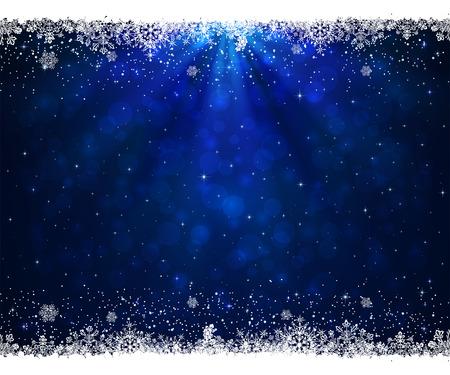 schneeflocke: Zusammenfassung blauem Hintergrund mit Rahmen aus Schneeflocken, Illustration.