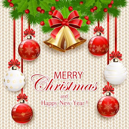 gomitoli di lana: Decorazioni con palle di Natale, campane d'oro con fiocco rosso, bacche di agrifoglio e rami di abete su bianco schema a maglia, illustrazione.