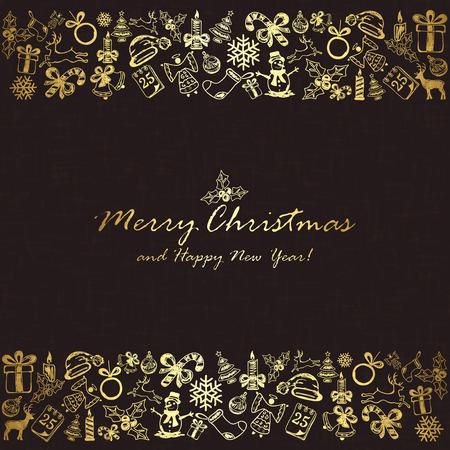 25 december: Golden Christmas elements on black background, illustration.