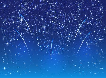 Sparkle fireworks on blue sky background, illustration.