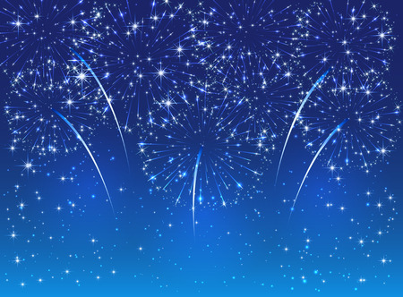 christmas in july: Sparkle fireworks on blue sky background, illustration.