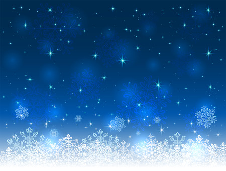 Blue Christmas background with snowflakes and stars, illustration. Illustration