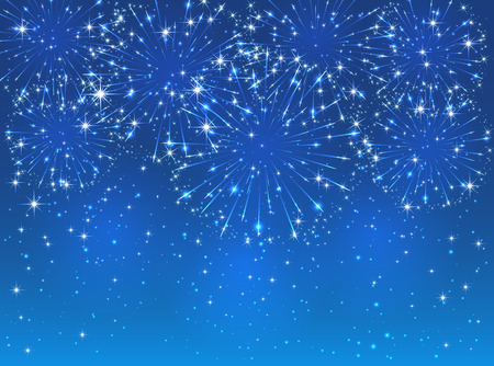 Bright sparkling fireworks on blue sky background, illustration. Stock Illustratie