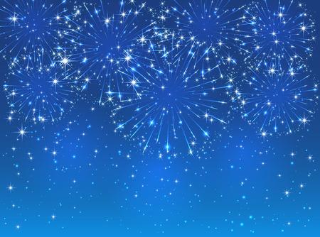 azul: Brillantes fuegos artificiales brillantes en el fondo del cielo azul, ilustración. Vectores