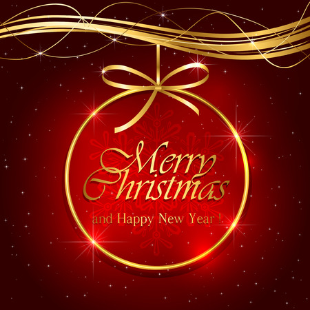 feliz: Golden Christmas decoration on red background, illustration.
