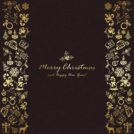 25 december: Golden decorations with Christmas elements on black background, illustration.
