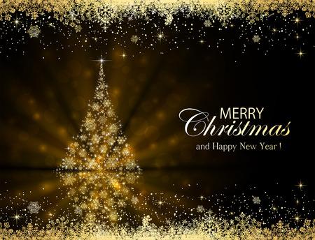 Résumé de fond noir avec cadre doré et l'arbre de Noël en flocons de neige, illustration.
