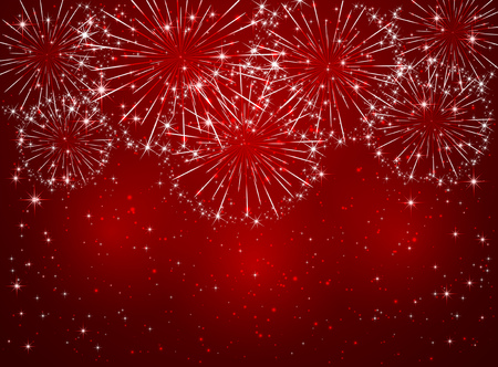 christmas in july: Bright sparkling fireworks on red shiny background, illustration. Illustration