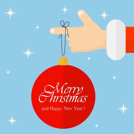 estrella caricatura: Fondo de Navidad con Santa Claus y la bola roja, ilustraci�n.