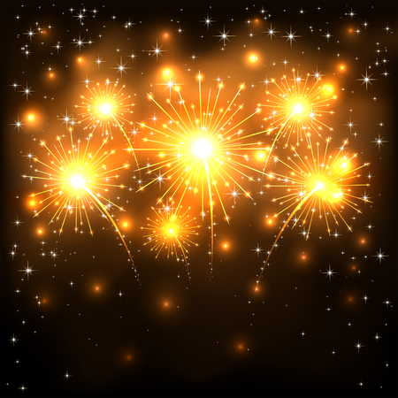 independence day: Golden firework with shining stars on dark background, illustration.