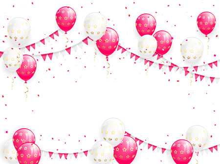 event party festive: Valentines background with balloons, pennants and confetti, illustration. Illustration