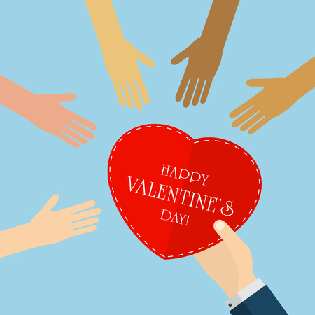 male hand: Valentines background with female hands and heart in male hand, illustration. Illustration