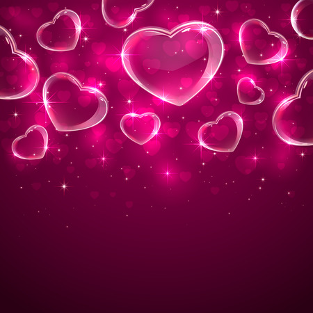 st valentin's day: Pink Valentines background with transparent hearts, illustration.
