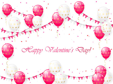 st valentin's day: Valentines background with pink and white balloons, pennants and confetti, illustration.