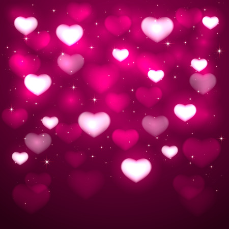 st valentins day: Pink background with blurry hearts and stars, illustration. Illustration