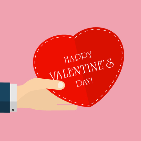 st valentin's day: Valentines background with heart in the hand, illustration. Illustration