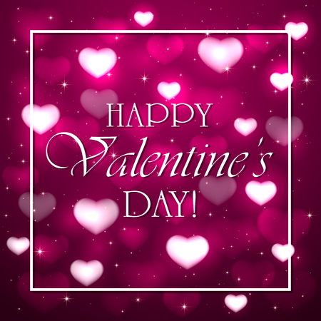 st valentins day: Pink background with blurry hearts, stars and white frame, illustration. Illustration