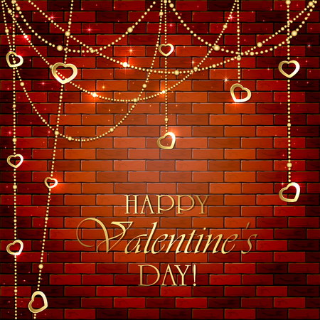 illuminated wall: Golden Valentines decorations with hearts on brick wall, illustration.