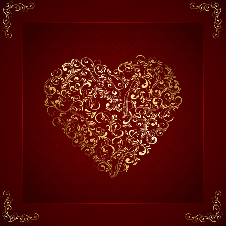 st valentin's day: Valentines card with golden heart from ornate elements, illustration.