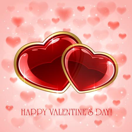 st valentin's day: Red hearts on pink Valentines background, illustration. Illustration