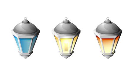 Set di strada lampada isolato su sfondo bianco, illustrazione. Vettoriali