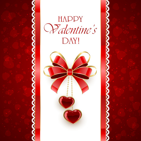 st valentin's day: Two shining hearts and red bow on vertical Valentines background, illustration.