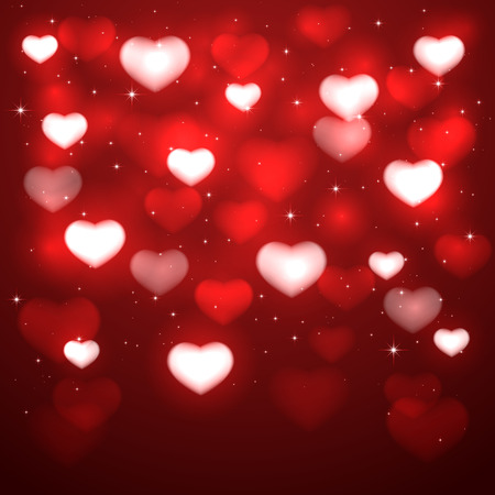 st valentin's day: Red background with blurry hearts and stars, illustration.