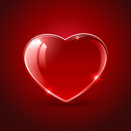 st valentin's day: Valentines background with shining red hearts, illustration. Illustration