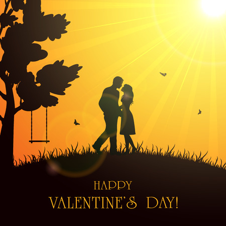 st valentin's day: Silhouette of two enamored on orange background with Sun, butterflies and tree, illustration. Illustration