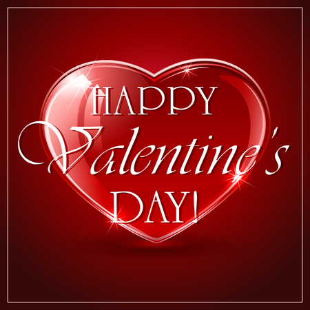 st valentin's day: Red Valentines background with shining hearts and white frame, illustration. Illustration