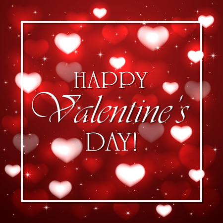 st valentin's day: Red background with blurry hearts, stars and white frame, illustration.