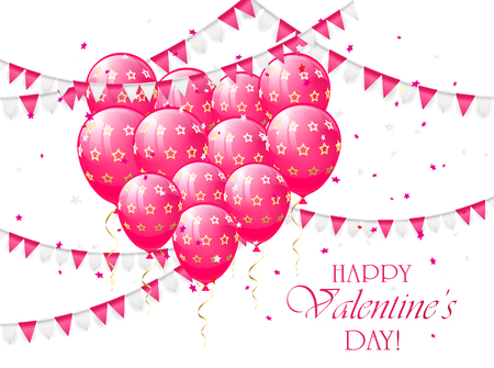 st valentins day: Valentines background with pink balloons in the form of heart, pennants and confetti, illustration.