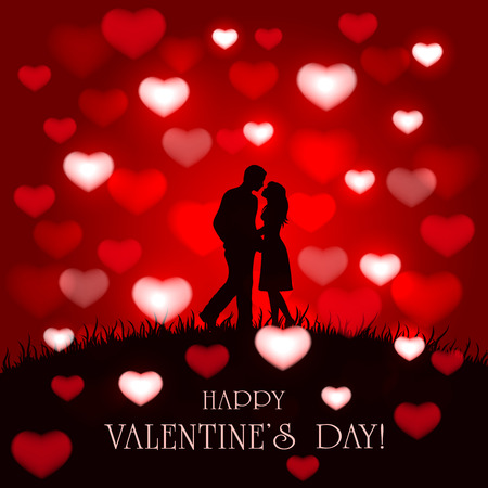 rendezvous: Silhouette of two enamored on red Valentines background with hearts, illustration.