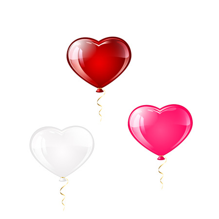 st valentin's day: Three Valentines balloons in the form of hearts isolated on white background, illustration.