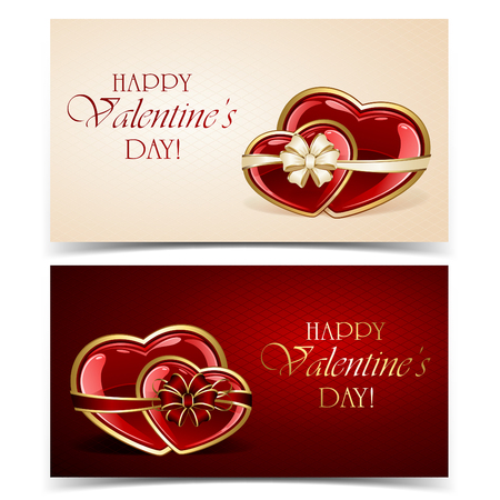 st valentins day: Two Valentines cards with hearts and bow, illustration.