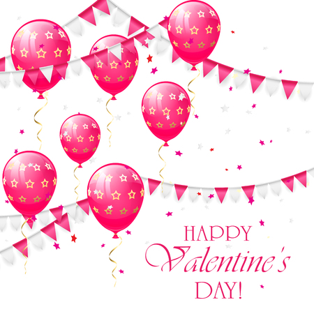 st valentin's day: Valentines background with pink balloons, pennants and confetti, illustration.