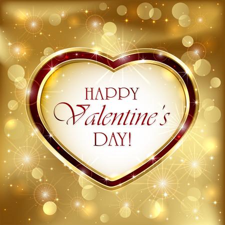 st valentin's day: Sparkling valentines background with golden heart, illustration.
